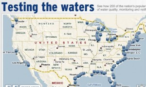 Map of water ratings for beaches across America